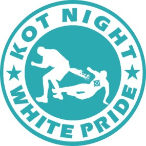 Button Kot Night Whiite Pride Babyblau