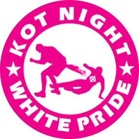 Button Kot Night White Pride pink