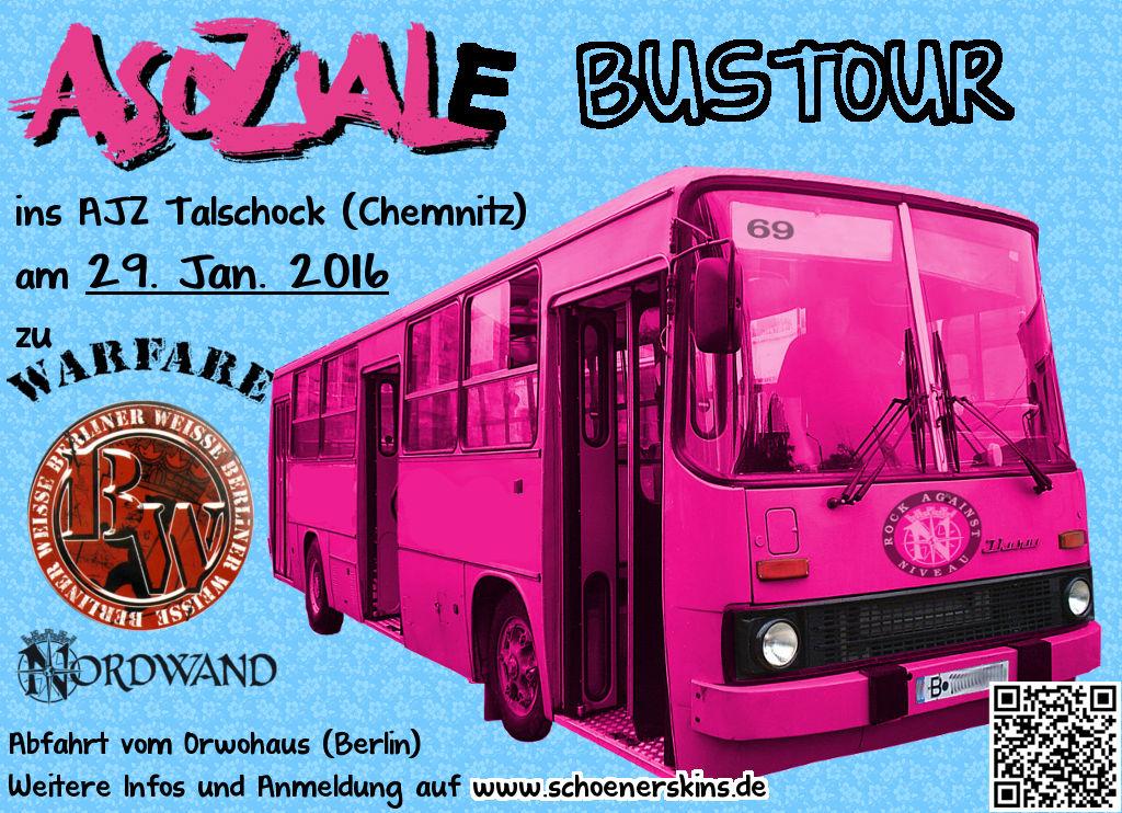 Asoziale Bustour 2016 ins AJZ Talschock zu Berliner Weisse, Nordwand und Warfare